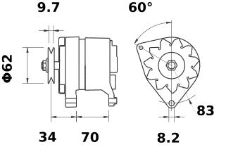 Генератор AAG1111 (MG 372, 11.201.067, IMA301067) - схема