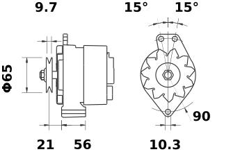 Генератор AAK1140 (MG 44, 11.201.122, IMA301122) - схема