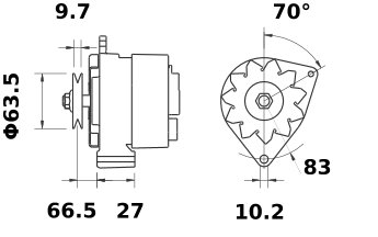 Генератор AAK1176 (MG 374, 11.201.208, IMA301208) - схема