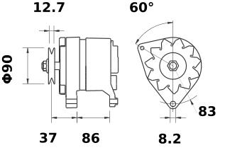 Генератор AAK4118 (MG 110, 11.201.276, IMA301276) - схема