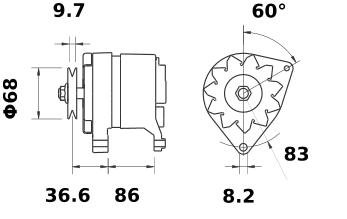 Генератор AAK4139 (MG 427, 11.201.305, IMA301305) - схема