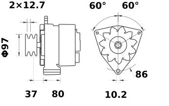 Генератор AAK4179 (MG 206, 11.201.360, IMA301360) - схема