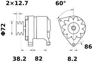 Генератор AAK1329 (MG 590, 11.201.415, IMA301415) - схема