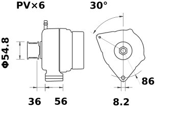 Генератор AAK5102 (MG 186, 11.201.440, IMA301440) - схема