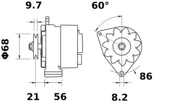 Генератор AAK3555 (MG 188, 11.201.448, IMA301448) - схема