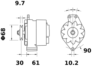 Генератор AAK1399 (MG 605, 11.201.804, IMA301804) - схема