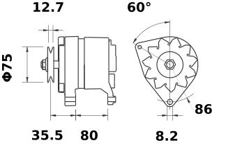 Генератор AAK1345 (MG 207, 11.201.505, IMA301505) - схема