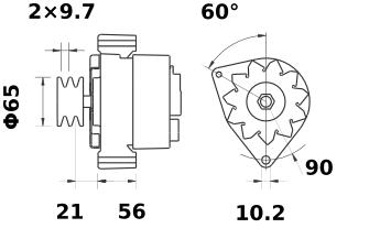 Генератор AAK3577 (MG 518, 11.201.509, IMA301509) - схема
