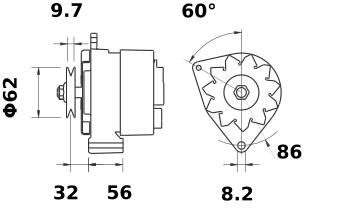 Генератор AAK3579 (MG 522, 11.201.511, IMA301511) - схема