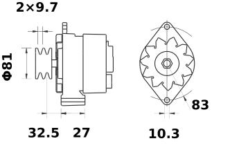 Генератор AAK3584 (MG 530, 11.201.524, IMA301524) - схема