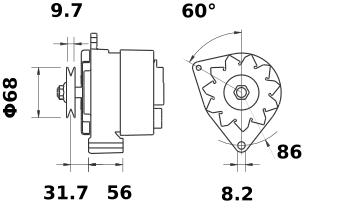Генератор AAK3585 (MG 531, 11.201.526, IMA301526) - схема