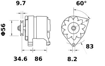 Генератор AAK3587 (MG 196, 11.201.528, IMA301528) - схема