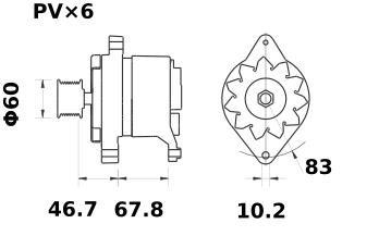 Генератор AAK3595 (MG 589, 11.201.536, IMA301536) - схема
