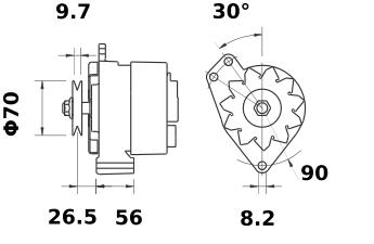Генератор AAK4504 (MG 513, 11.201.545, IMA301545) - схема