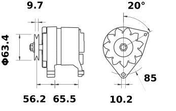 Генератор AAK4506 (MG 514, 11.201.554, IMA301554) - схема