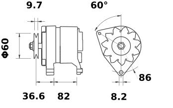 Генератор AAK4526 (MG 241, 11.201.581, IMA301581) - схема