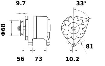 Генератор AAK4527 (MG 244, 11.201.582, IMA301582) - схема