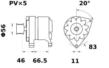 Генератор AAK4535 (MG 12, 11.201.590, IMA301590) - схема