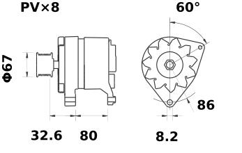 Генератор AAK1354 (MG 378, 11.201.599, IMA301599) - схема