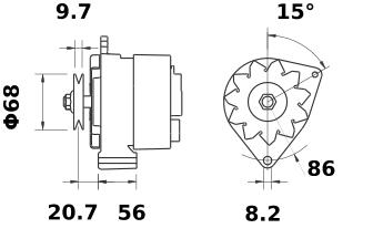 Генератор AAK3514 (MG 410, 11.201.617, IMA301617) - схема