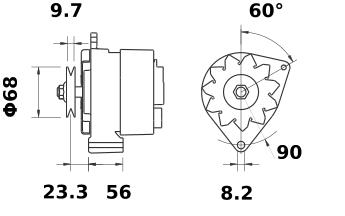 Генератор AAK3515 (MG 389, 11.201.624, IMA301624) - схема
