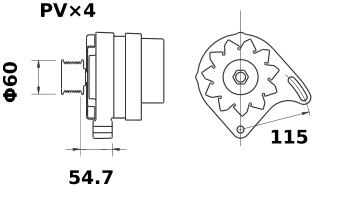 Генератор AAK4556 (MG 360, 11.201.695, IMA301695) - схема