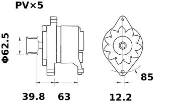 Генератор AAK4557 (MG 361, 11.201.696, IMA301696) - схема
