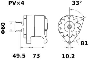 Генератор AAK4558 (MG 350, 11.201.697, IMA301697) - схема