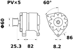 Генератор AAK4568 (MG 102, 11.201.707, IMA301707) - схема