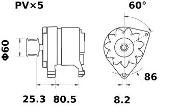 Генератор AAK4575 (MG 420, 11.201.729, IMA301729) - схема