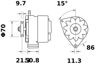 Генератор AAK3334 (MG 130, 11.201.939, IMA301939) - схема