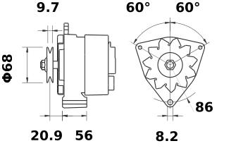 Генератор AAK1385 (MG 386, 11.201.753, IMA301753) - схема
