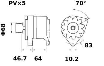 Генератор AAK4584 (MG 49, 11.201.763, IMA301763) - схема