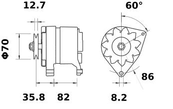 Генератор AAK1388 (MG 235, 11.201.764, IMA301764) - схема