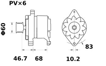 Генератор AAK4588 (MG 419, 11.201.768, IMA301768) - схема