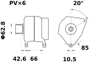 Генератор AAK5136 (MG 422, 11.201.769, IMA301769) - схема