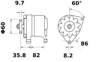 Генератор AAK4564 (MG 107, 11.201.824, IMA301824) - схема