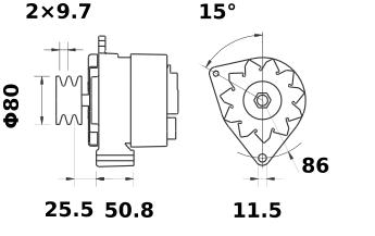 Генератор AAK3338 (MG 46, 11.201.944, IMA301944) - схема