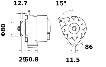 Генератор AAK3339 (MG 230, 11.201.945, IMA301945) - схема
