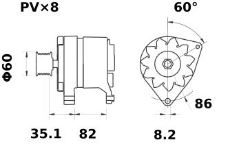 Генератор AAK3310 (MG 154, 11.201.873, IMA301873) - схема