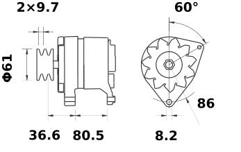 Генератор AAK3316 (MG 412, 11.201.884, IMA301884) - схема