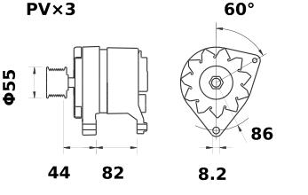 Генератор AAK3122 (MG 428, 11.201.890, IMA301890) - схема