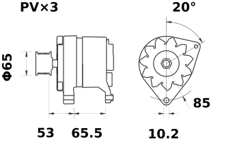 Генератор AAK3125 (MG 155, 11.201.906, IMA301906) - схема