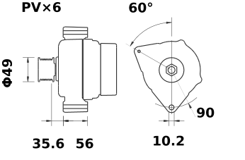 Генератор AAK5319 (MG 19, 11.203.024, IMA303024) - схема