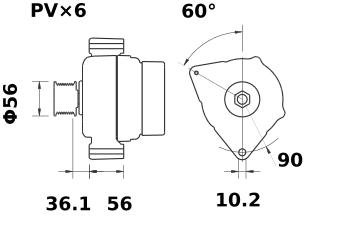 Генератор AAK5322 (MG 157, 11.203.030, IMA303030) - схема