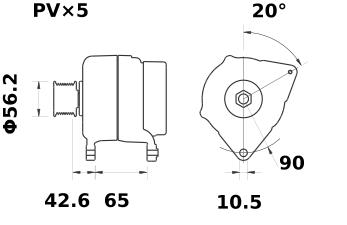 Генератор AAK5358 (MG 405, 11.203.092, IMA303092) - схема