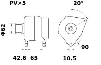 Генератор AAK5359 (MG 256, 11.203.093, IMA303093) - схема