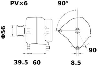 Генератор AAK5347 (MG 243, 11.203.076, IMA303076) - схема
