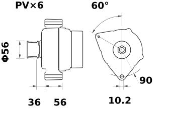 Генератор AAN5306 (MG 574, 11.204.147, IMA304147) - схема