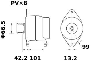 Генератор AAN5320 (MG 577, 11.204.161, IMA304161) - схема